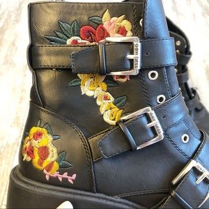G by Guess Shoes - GUESS Floral Embroidered Combat Boots